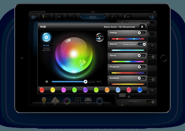 Smart Home München: RGBW die Farben Tablet